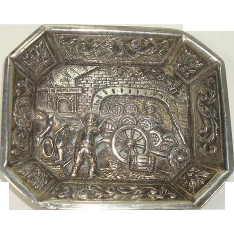 Small Silver Dutch Scenic Dish Pin Tray