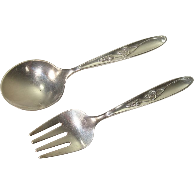 Towle 1954 Rose Solitaire Childs Fork and Spoon