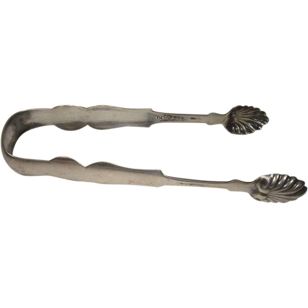 William W Hannah  Large Coin Silver Sugar Tongs