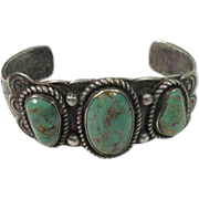Navajo Sterling Turquoise Old Pawn Cuff Bracelet