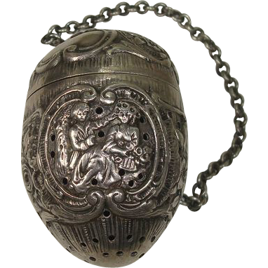 Silver Floral Leaf and Figural Tea Ball or Infuser