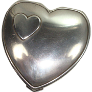 1940's Hingeco Sterling Heart Shaped Compact