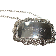 London England Sterling Sherry Decanter Tag or Label