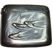 French Sterling Bird Theme Match Safe or Vesta