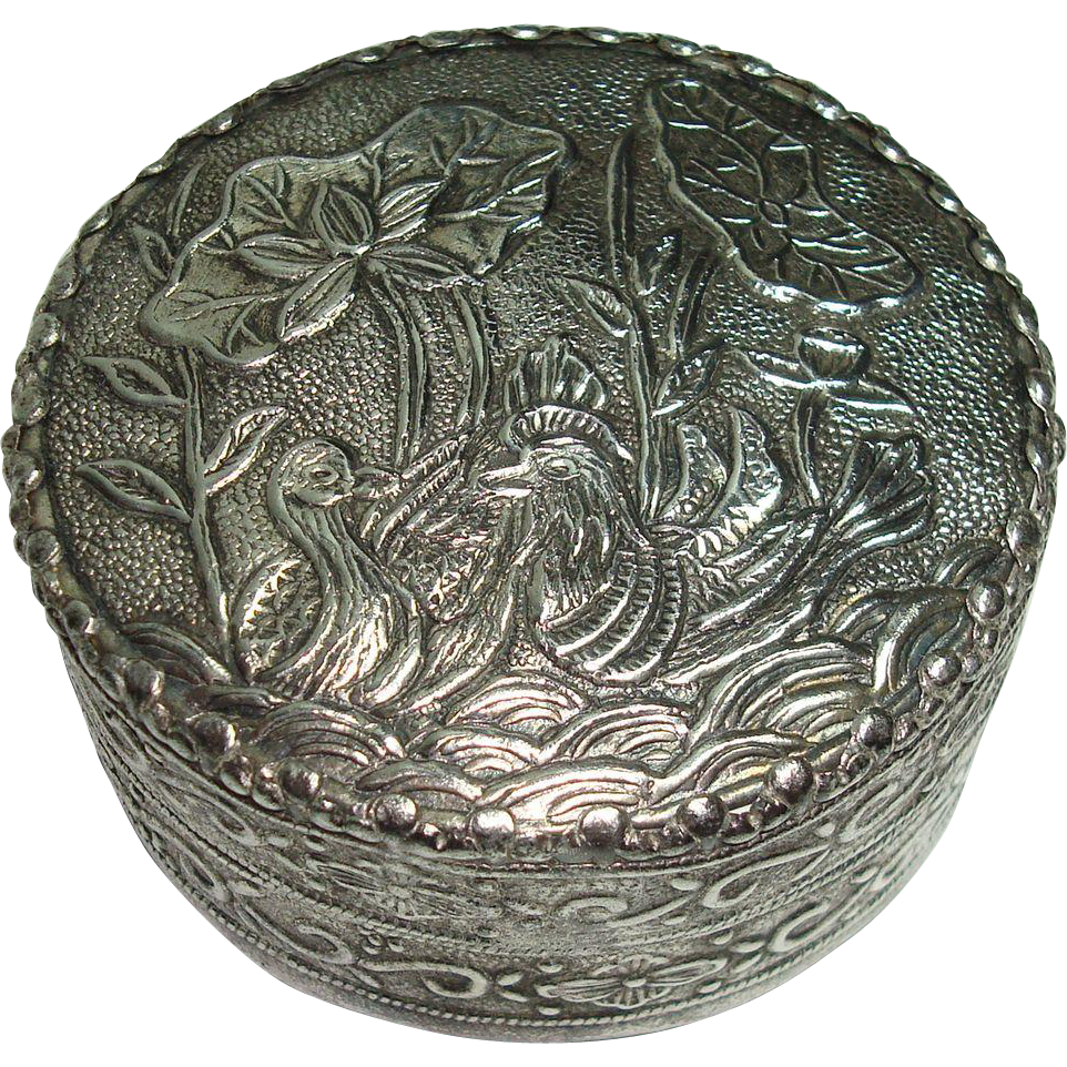 Sterling Bird Floral and Leaf Mirrored Compact