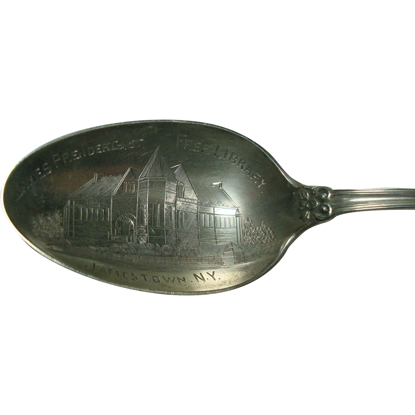 James Prendergast Free Library Jamestown NY Sterling Souvenir Spoon