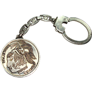 Sterling key Chain with Mexican Palenque Coin