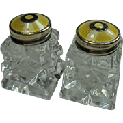 Norway Sterling Guilloche Enameled Salt and Pepper Shakers
