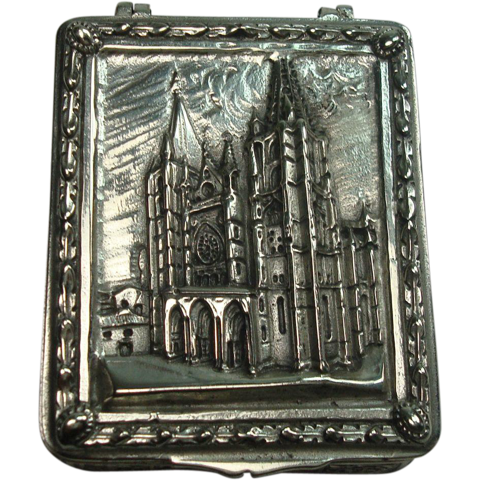 Heavy Ornate Sterling Cathedral de Leon Pill Box