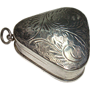 Sterling Triangular Etched Acanthus Pill Box