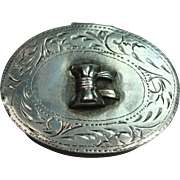 Cute Sterling Bow Oval Pill Box