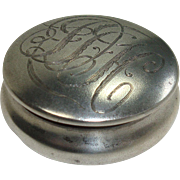 Sterling Pot Style Hinged Pill or Snuff Box
