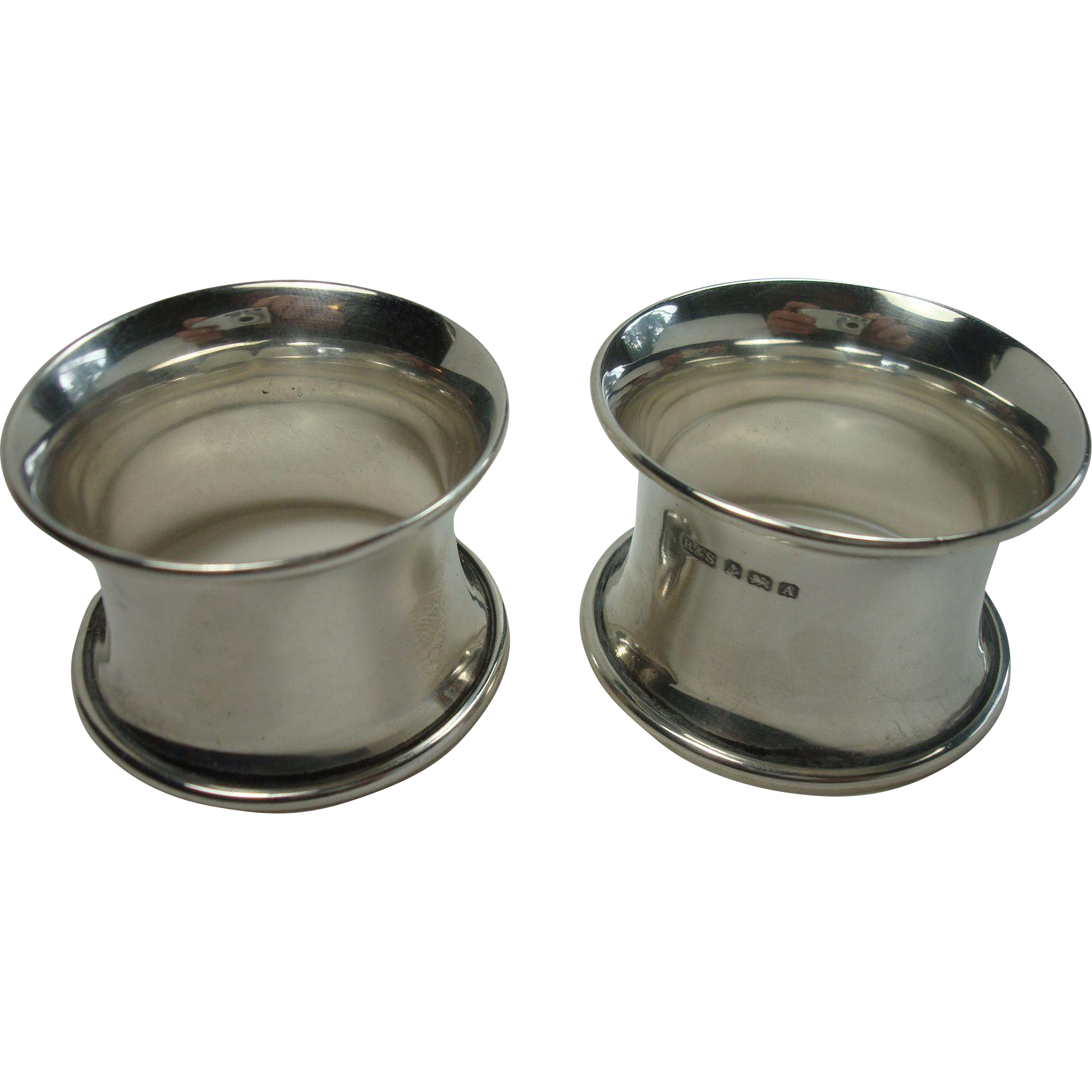 Matching Pair of Sterling Concave 1925 Napkin Rings