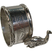 English Silver Plate Emu Napkin Ring Holder
