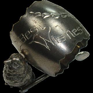 Derby Silver Silver Plate Chick Wishbone Best Wishes Napkin Holder