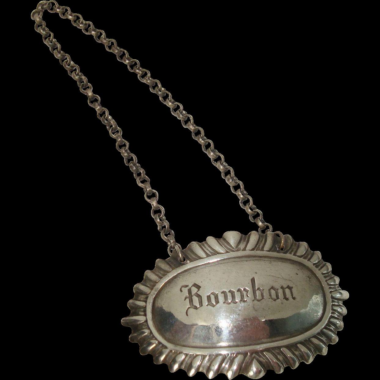 Bourbon Silver plate Decanter Label
