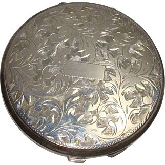 Gorgeous Sterling Acanthus Mirrored Compact