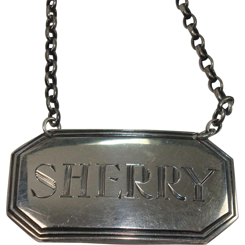 English Sterling Sherry Decanter Label London