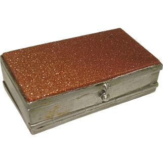 Silver Tone Gold Stone Four Compartment Pill Box
