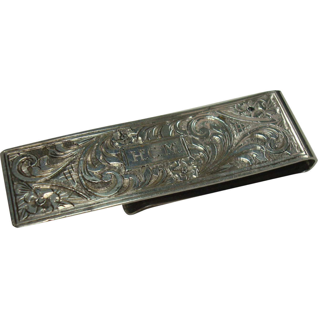Florence Italy Floral and Acanthus 800 Silver Money Clip