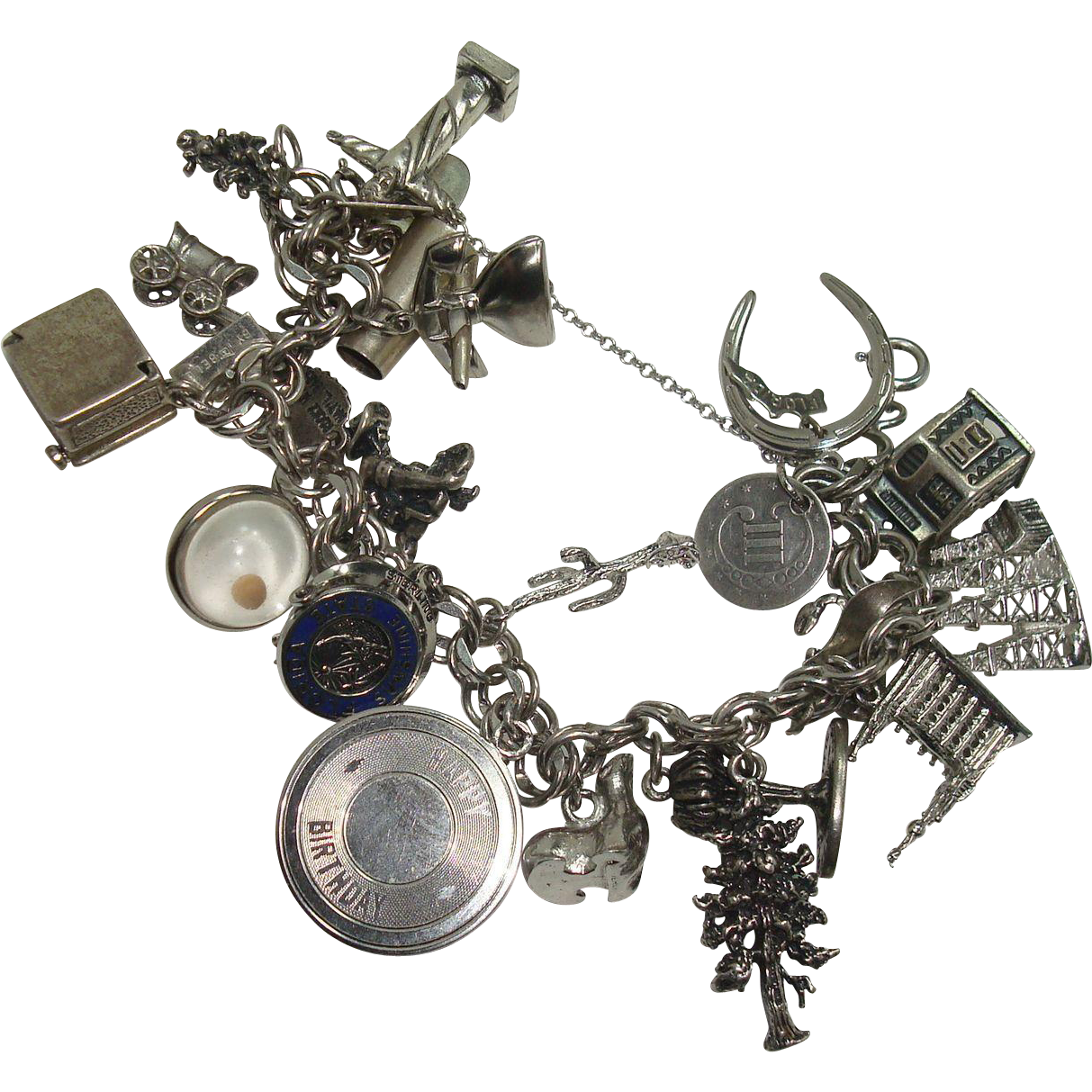 LOADED Sterling Double Link Charm Bracelet