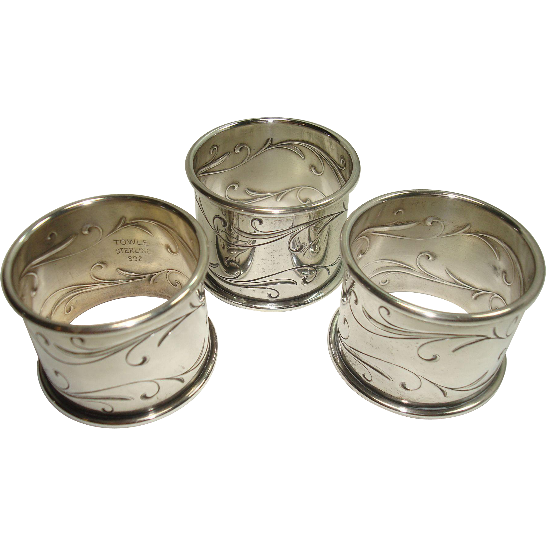 Set of Three Towle Sterling Scroll Napkin Rings c. 1940