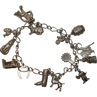 Sterling 14 Charms Charm Bracelet