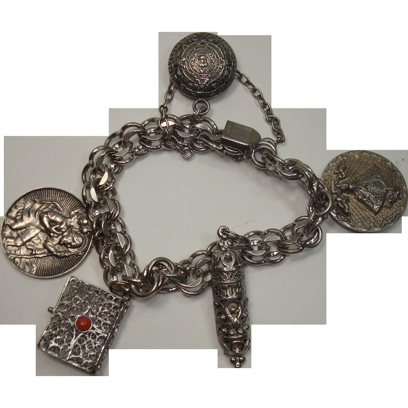 Heavy Sterling Religious Theme Charm Bracelet
