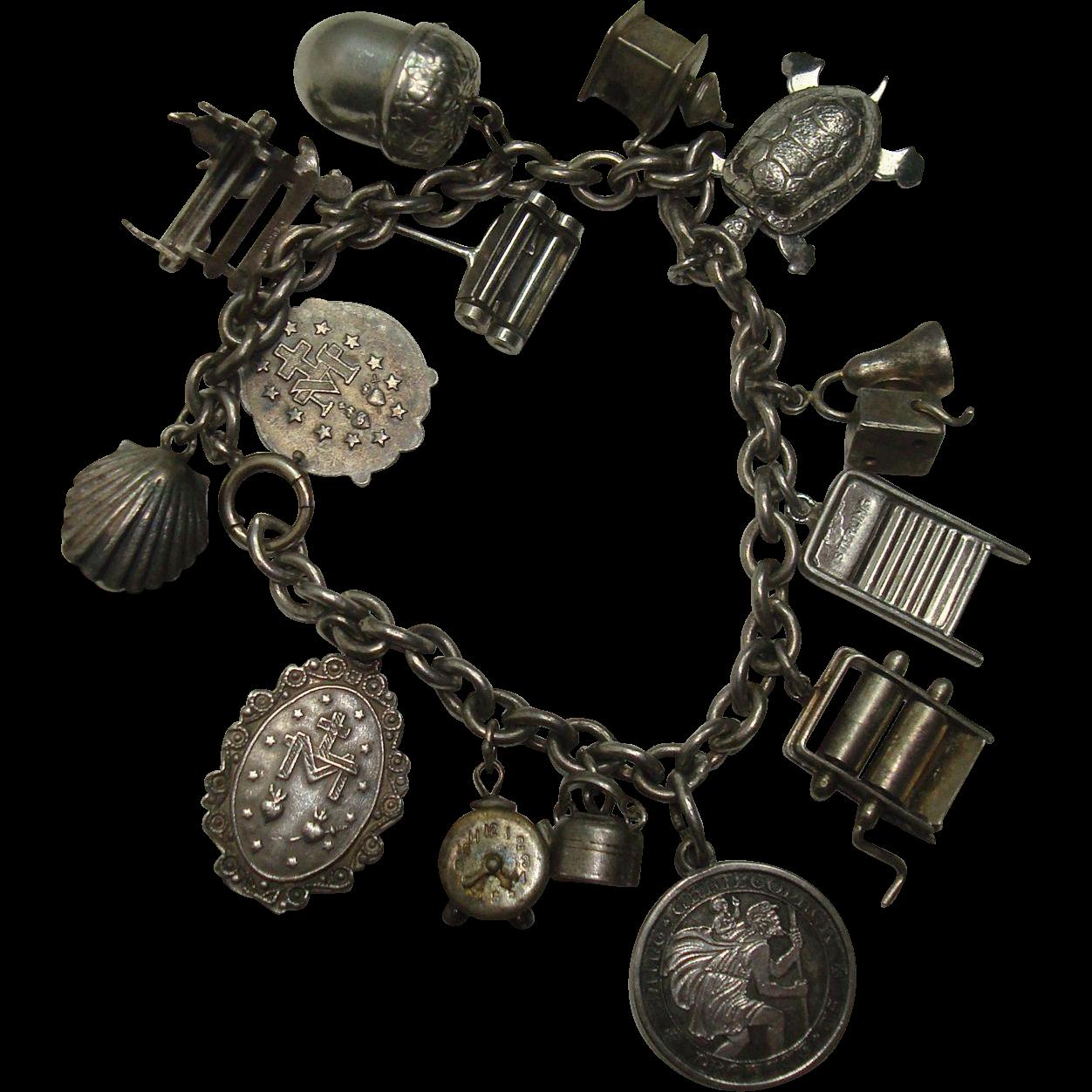 Loaded Sterling Mechanical Charm Bracelet