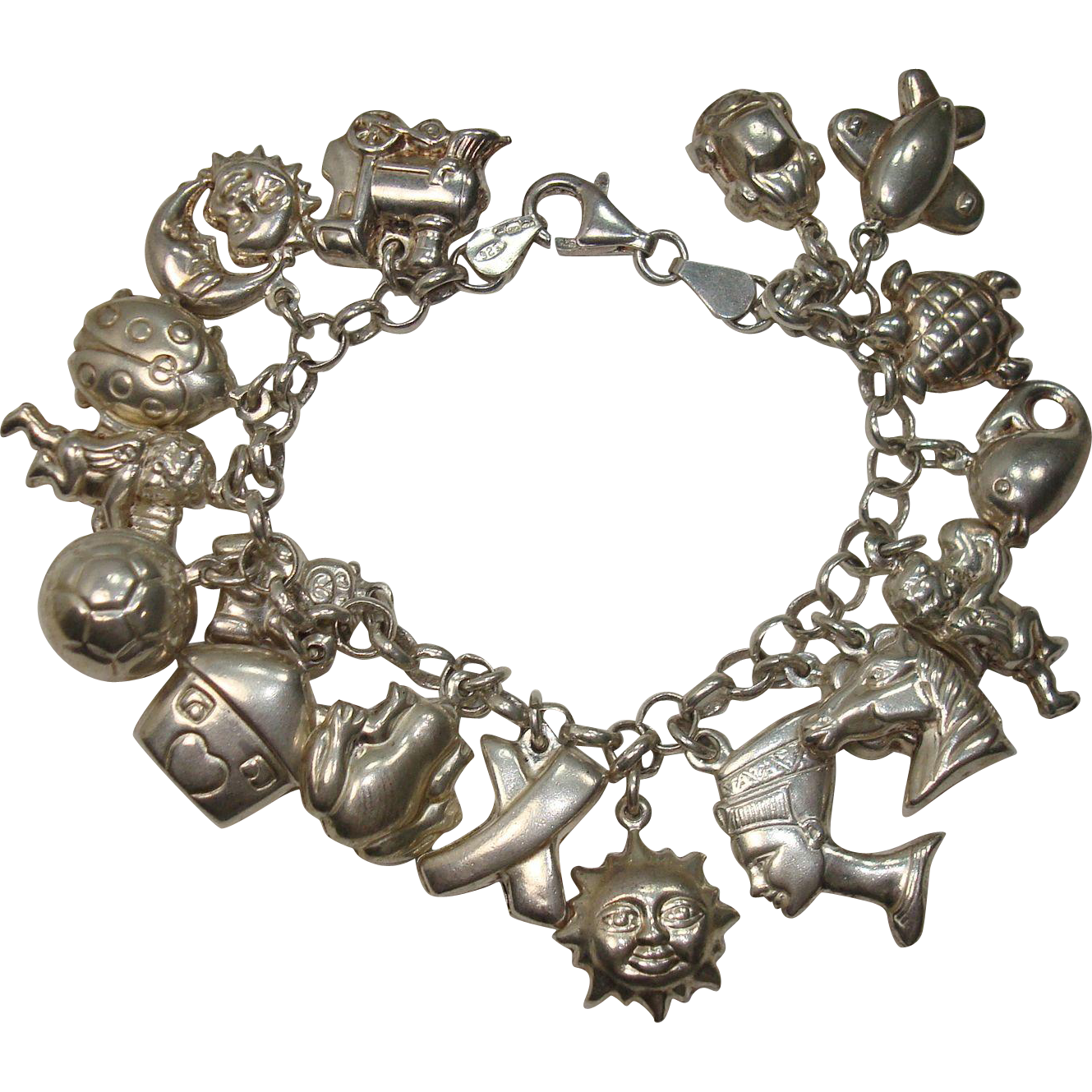 Loaded Sterling Puffy 18 Charm Bracelet