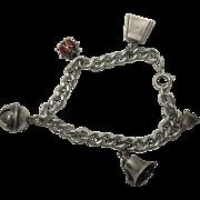 Sterling Curb Link Bell Charm Bracelet