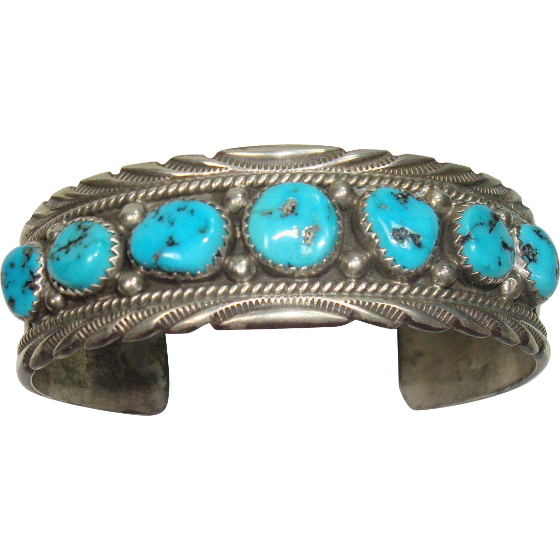 Navajo James Shay Sterling And Turquoise Cuff Bracelet