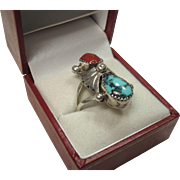 Vintage Navajo Coral and Turquoise Sterling Ring