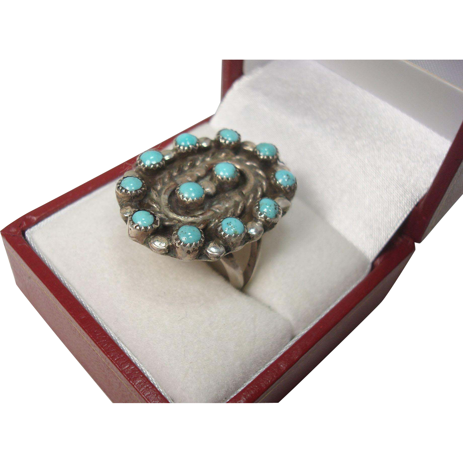 Zuni Petite Point Turquoise and Sterling Ring