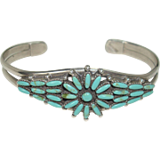 Gorgeous Zuni Petite Point Sterling and Turquoise Bracelet