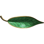 Meka Sterling Danish Guilloche Enameled Leaf Pin