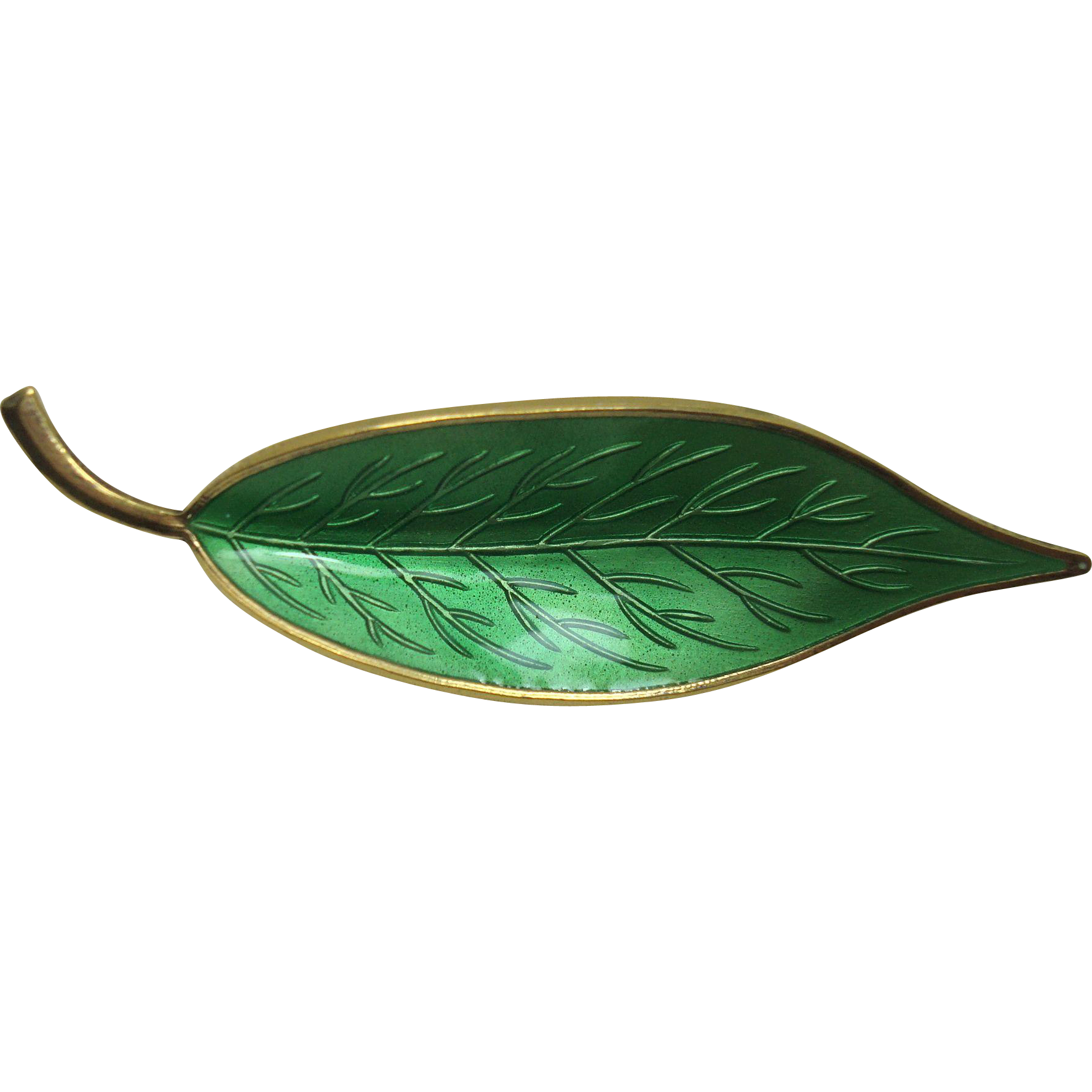 Meka Sterling Danish Guilloche Enameled Leaf Pin
