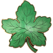 Meka Denmark Guilloche Enameled Maple Leaf Pin