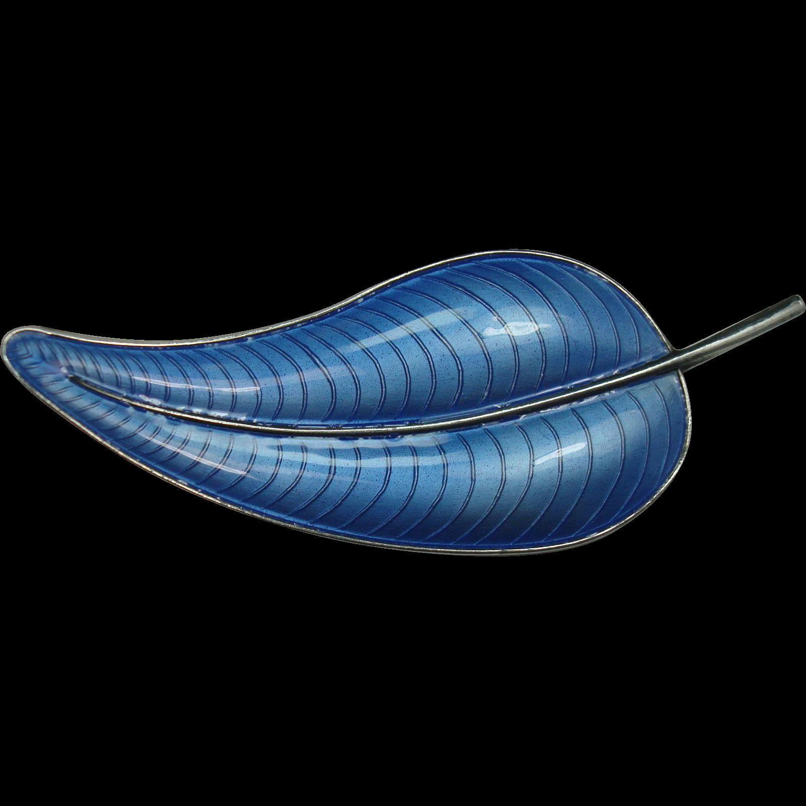 Volmer Bahner Sterling Guilloche Enameled Leaf Pin