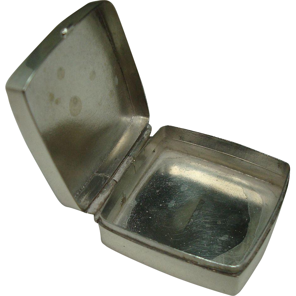 London 1962 Sterling Square Pill Box