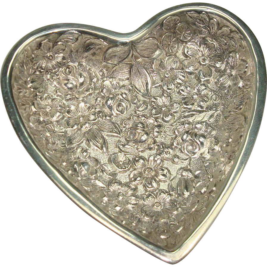 Kirk Stieff Heart Shaped Repousse Pin Tray