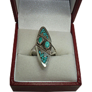 Richard Begay Navajo Inlay Turquoise Sterling Ring