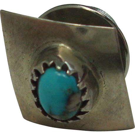 Small Sterling and Turquoise Tie Pin