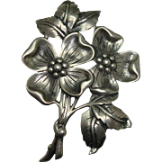 Heavy Sterling Danecraft Floral and Leaf Brooch