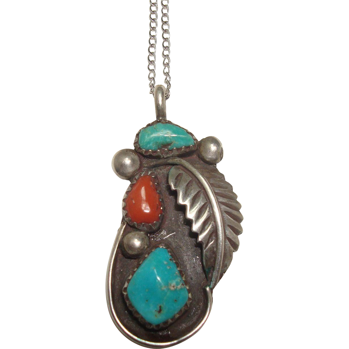 Zuni Mary Poblano Sterling Turquoise and Coral Pendant