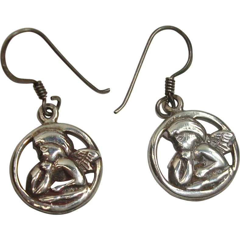 Sterling Cherub Earrings