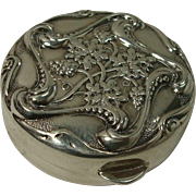 Cute Sterling Grape and Leaf Pill Box