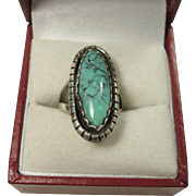 Gorgeous Elongated Turquoise and Sterling Ring