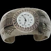 Signed T A Begay Sterling Watch Cuff Bracelet