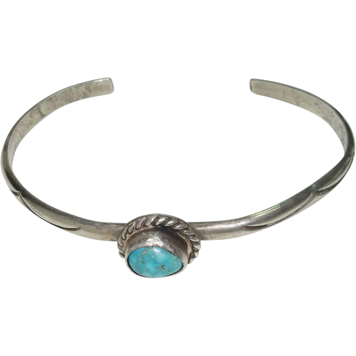 Cute Petite Navajo Sterling and Turquoise Bracelet